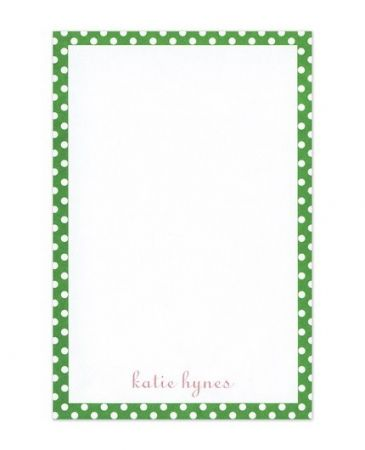 Green Polka Dot Note Pad