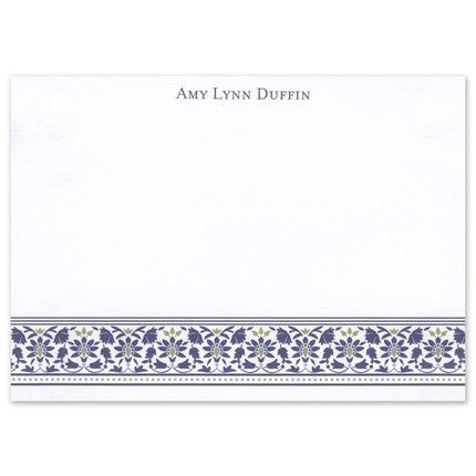Navy Floral Stationery