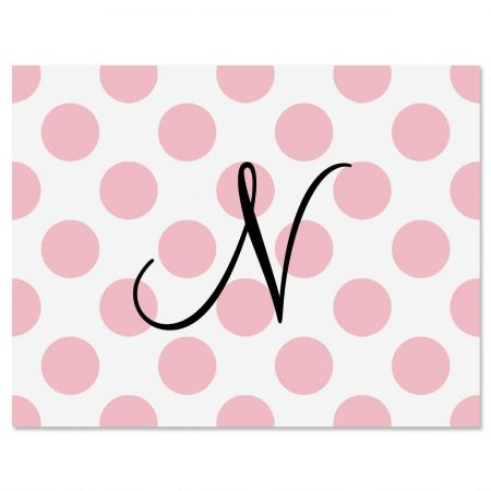Pink Dots Initial Note Cards