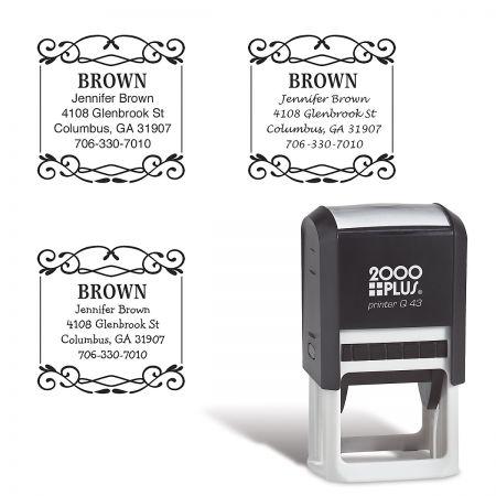 Border Square Custom Address Stamp
