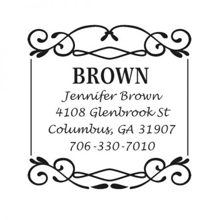 Border Square Custom Address Stamp