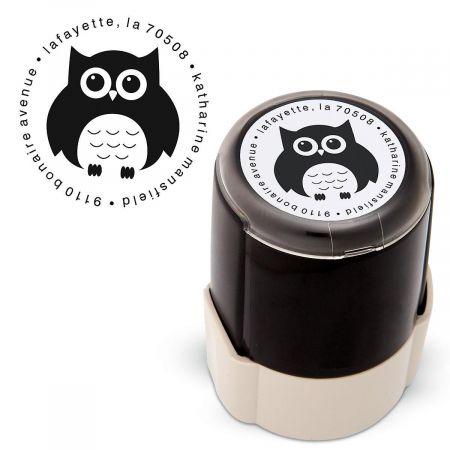 Owl Round Custom Address Stamp