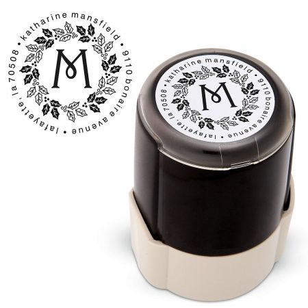 Wreath Round Custom Address Stamp
