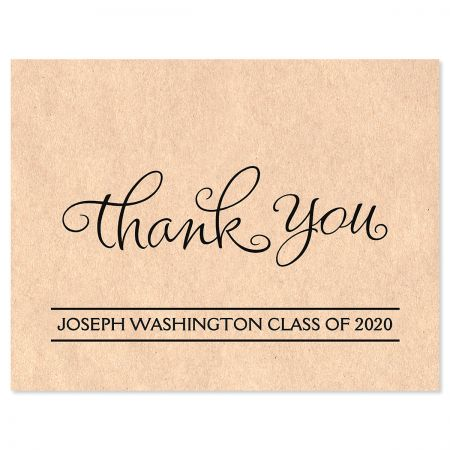 Graduation Kraft Thank You Note Cards