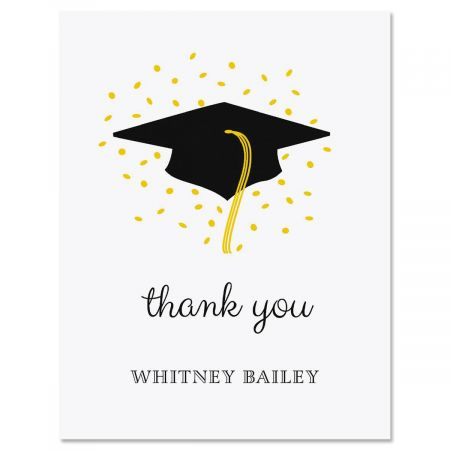 Confetti and Cap Graduation Thank You Cards