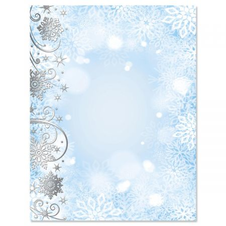 Swirling Snowflakes with Silver Foil Letter Papers