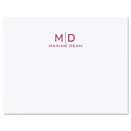 Thin Line Monogram Note Cards