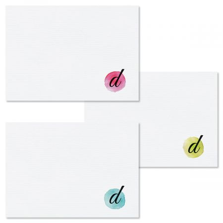 Watercolor Initial Note Cards