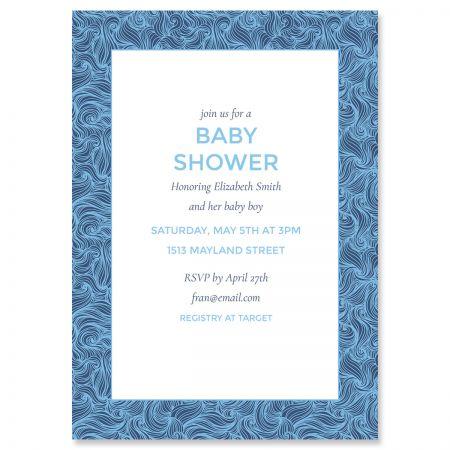 Blue Wave Frame Shower Invitations