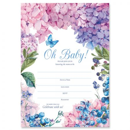 Hydrangea Baby Shower Fill In Invitations