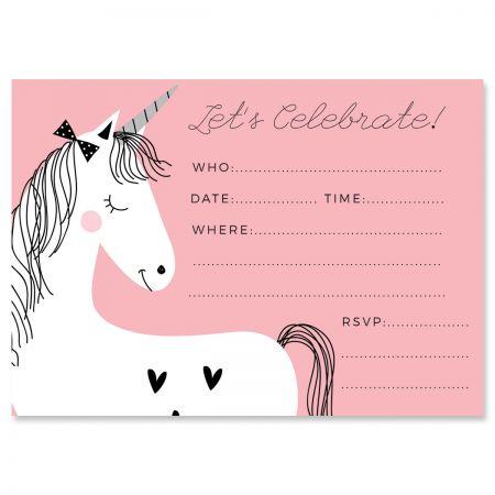 Simple Unicorn Birthday Fill In Invitations