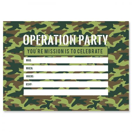 Operation Party Birthday Fill In Invitations