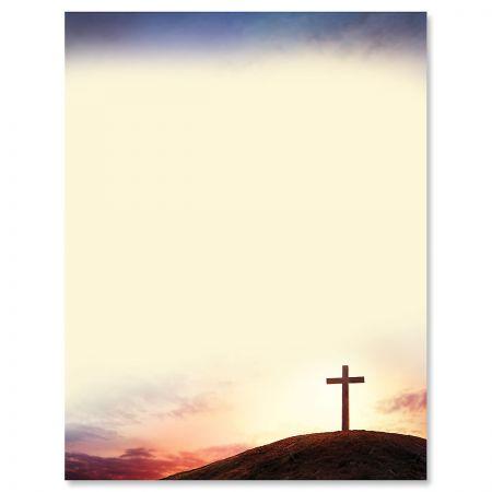 Letter Paper Sun Setting Cross