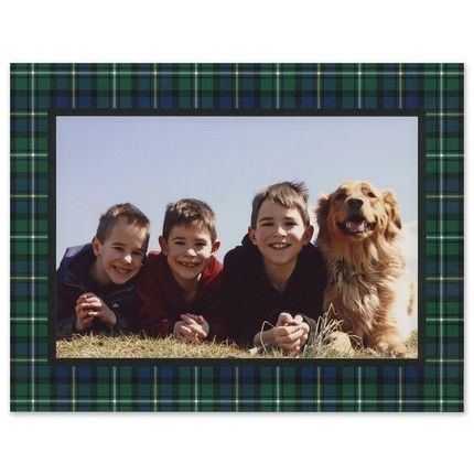 Dark Plaid Mounted Photo Card