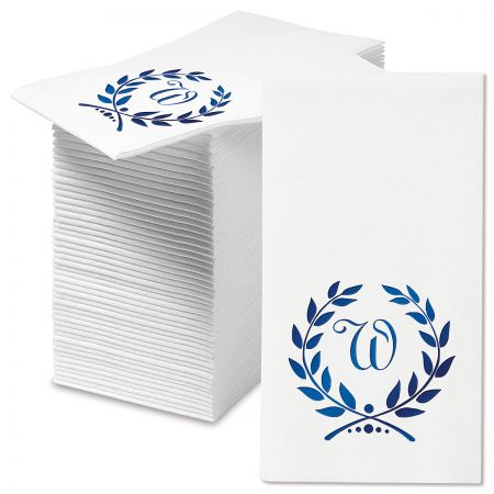 Personalized Foil Wreath Initial Hand Towels
