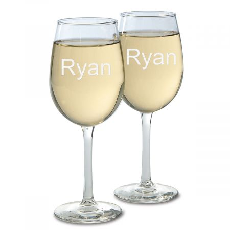 Stemmed Etched Wine Glass with Name
