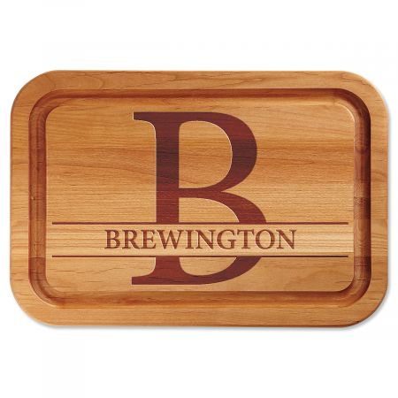 Initial with Name Engraved Alder Wood Cutting Board