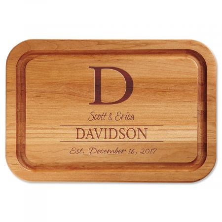 Initial Engraved Alder Wood Cutting Board
