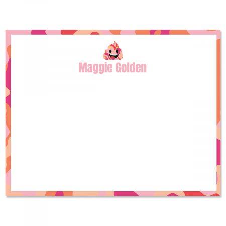 Pink Camo Poop Emoji Correspondence Cards