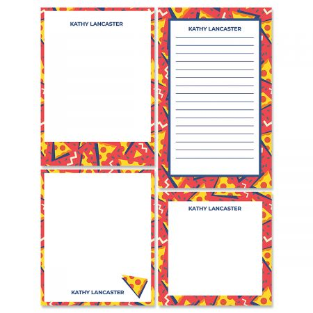 Retro Red Pizza Memo Pad Set