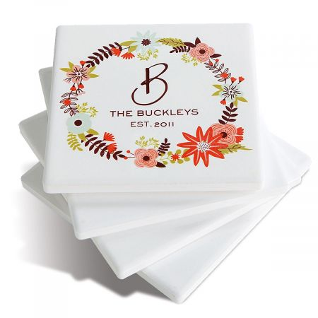 Floral Wreath Customized Ceramic Coasters