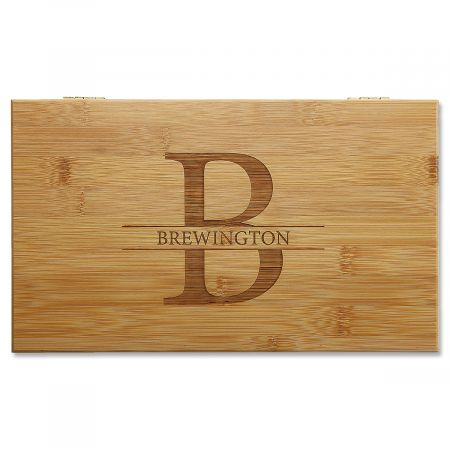 Engraved Initial & Name Bamboo Tea Box