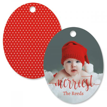 Merriest Custom Photo Oval Ornament