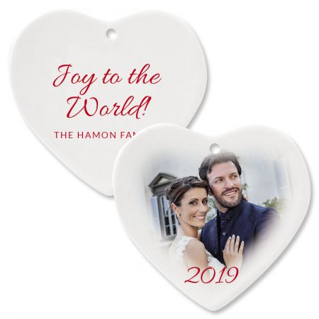 Joy Custom Photo Heart Ornament