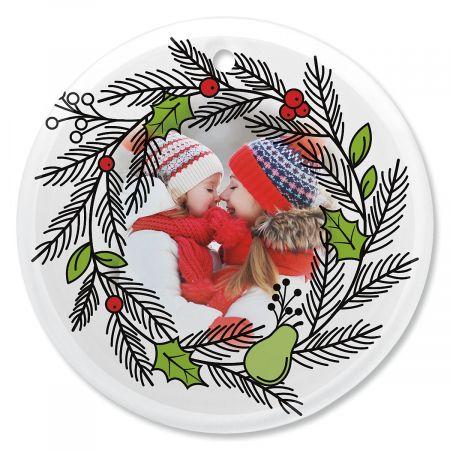 Wreath Custom Photo Glass Round Ornament