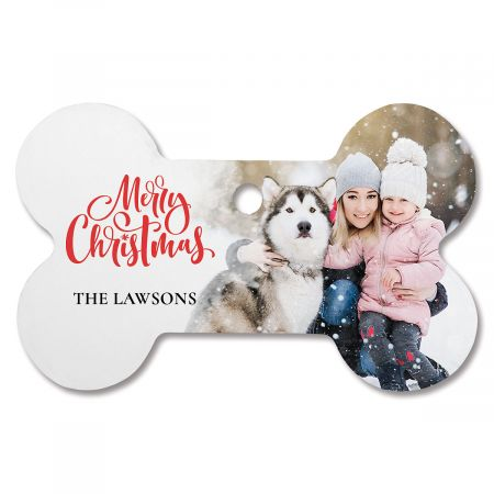 Merry Christmas Custom Photo Bone Ornament