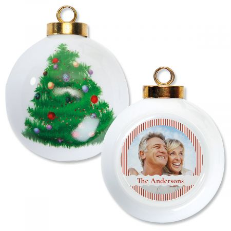 Stripe Photo Custom Round Ornament