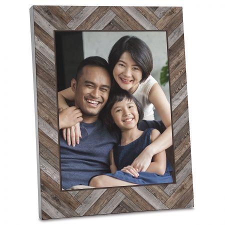 Wood Chevron Photo Plaque