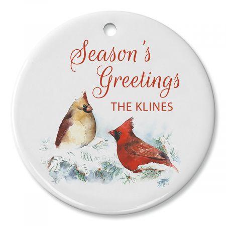 Winter Cardinal Custom Round Ornament