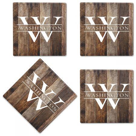 Wood Grain Custom Ceramic Coasters