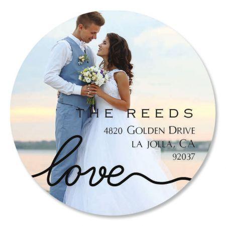 Love Black Caption Round Custom Photo Address Labels
