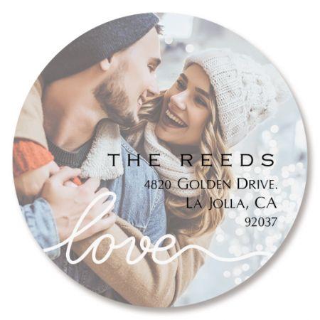 Love White Caption Round Custom Photo Address Labels