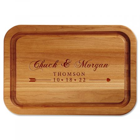 Heart Bow Arrow Engraved Alder Wood Cutting Board
