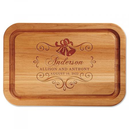 Wedding Bells Engraved Alder Wood Cutting Board