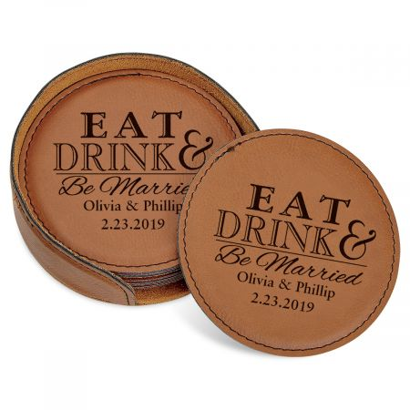 Personalized Eat, Drink and Be Married Coaster Set