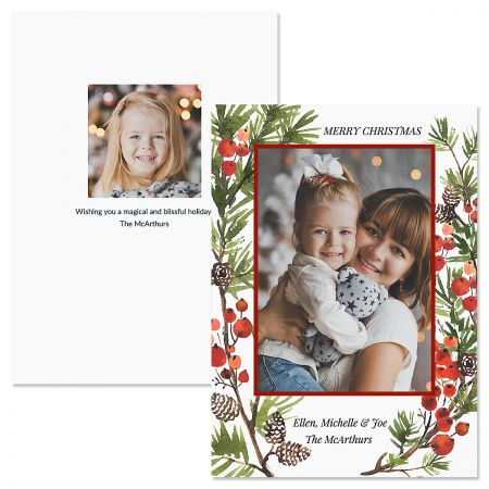 Holiday Berry Personalized Photo Christmas Cards