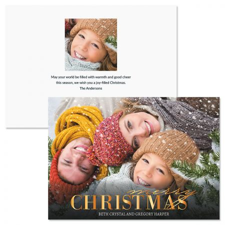 Merry Gold Personalized Photo Christmas Cards