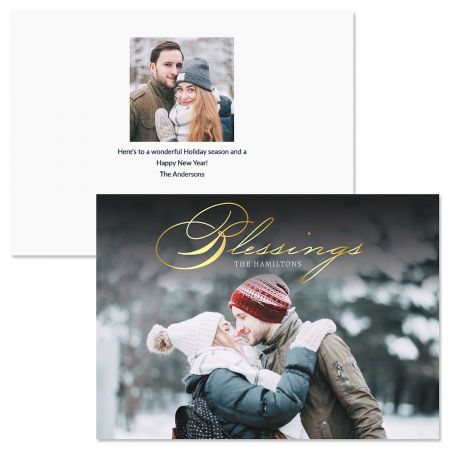 Blessings Horizontal Personalized Photo Christmas Cards