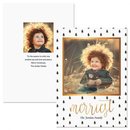 Black Trees Personalized Photo Christmas Cards