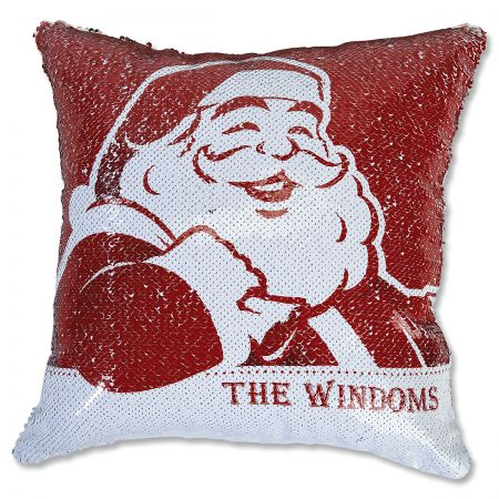 Sequined Santa's Face Personalized Pillow