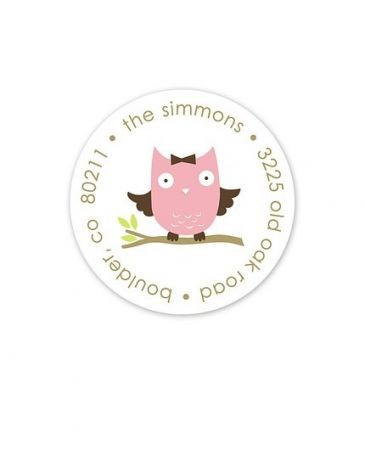 Pink Owl Address Label