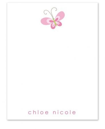 Pink Butterfly Flat Card