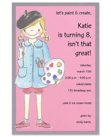 Artist Girl Invitation