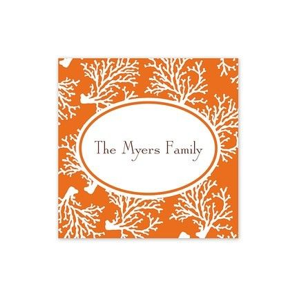 Orange Coral Square Sticker