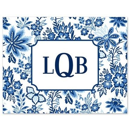 Floral Blue Note Card