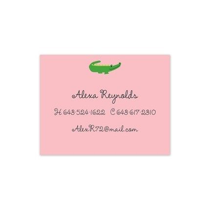 Pink Alligator Calling Card